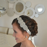 Art deco crystal rhinestone beaded bridal headband with ivory double face ribbon bridal hairband wedding accessories bridal head piece