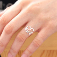 Thai Silver 925 sterling silver handmade elephant ring [244]
