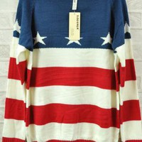 Retro Stripe Star Flag Sweater