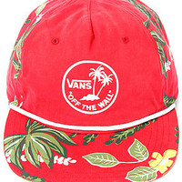The VANS Broloha Surf Snapback Hat in Red Hawaiian