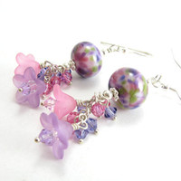 Artisan Glass Flower Earrings Pink Purple Floral Crystal Sterling Silver Earrings