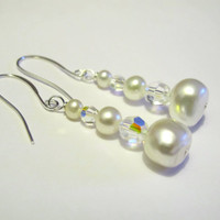 White Pearl and Crystal Earrings - Bridal Earrings - Wedding Earrings - Spring Earrings - Spring Flowers
