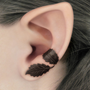 Dark Forest Left Ear Cuff  Dark Brown Leaves Filigree by RavynEdge