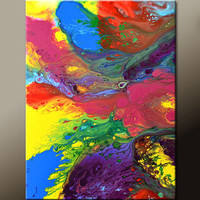 Abstract Art Canvas Painting 18x24 Contemporary Rainbow Art Paintings by Destiny Womack - dWo - Over the Rainbow