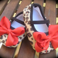 Rockabilly Baby Girl Cheetah Crib Shoe's by RockkandyKids on Etsy