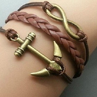 Vintage Golden Anchor Infinity Bracelet