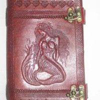 Mermaid Embossed Camel Leather Blank Book