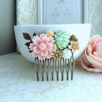 A Blush Baby Pink Flower, Soft Green Rose, Brass Leaf Collage Hair Comb. Bride, Maid Of Honor, Bridesmaids Gift, Wedding Bridal Hair Comb.