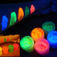 5 x 1 oz Flourescent UV black light glow body face paint set (blue, yellow, orange, green, red)