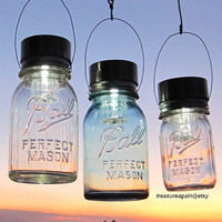 Night Gardening 3 Lanterns Hanging Outdoor Gardening Lights, Upcycled Ball Mason Jar Solar Light LIDS