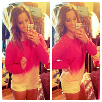 Studded Dip Dyed Hot Pink Ombre Crewneck by KayJaysKloset on Etsy