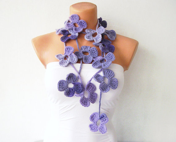 Lavender Purple Flower Hand Crochet Lariat Scarf by fairstore