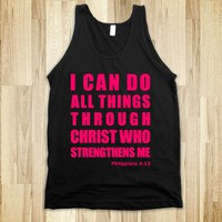 INSPIRATIONAL PHILIPPIANS 4:13 (TANK - PINK) - I CAN DO ALL THINGS THROUGH CHRIST