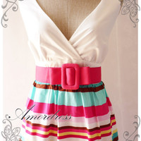 Summer Rainbow - Pink Blue Popping Stripe Chic Retro Cotton Summer Dress Party Colorful or Everyday Dress-S-M-