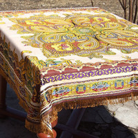 Vintage Brocade Tablecloth / Sofa throw over / Bed cover