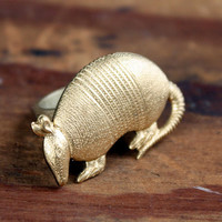 Armadillo Woodland Animal Ring by ChristineDomanic on Etsy