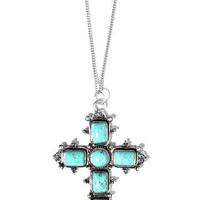 GYPSY WARRIOR - Turquoise Cross Necklace