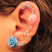 Non Pierced Ear Cuff  &quot;Roses are Colorful&quot; Cartilage Conch Cuff Silver tone Prom