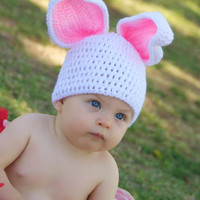 Crochet Easter Bunny hat Sizes available newborn by jwhizcrochet