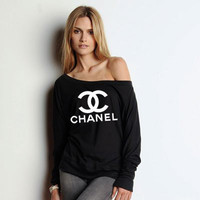 Chanel Sweatshirt Slouchy Wideneck Ladies by BellaCoutureClothing