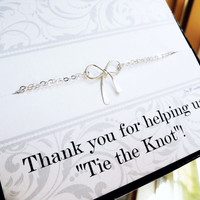 Bridesmaid gifts, silver bow bracelet and thank you card, Bridesmaid gifts, Tiffany inspired jewelry, bridal party gifts favors