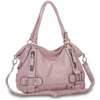 Pink Weave Pattern Belt Accent Double Handle Top Closure Soft Hobo Bowler Satchel Office Tote Shoulder Bag Handbag Purse: Clothing