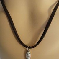 Coffee-Brown Genuine Leather Suede Necklace
