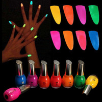 NEW Nail Art GLOW IN THE DARK nail polish Luminous Fluorescent Lacquer FREE SHIP
