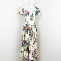 80s Sun Dress 1980s Garden Party Dress Floral Cut Out Full Skirt XS S