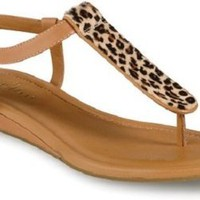 Cole Haan Women's Molly Flat Thong Sandal - Birch/Leopard (8B)