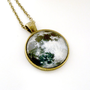 Full Moon Necklace, Pendant Glass Art Jewelry Picture Pendant Photo Pendant Handcrafted Jewelry by Lizabettas