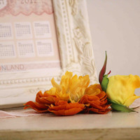 Yellow flower headband photo prop vintage style by bonbonLand