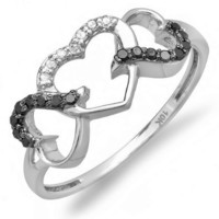 0.15 Carat (ctw) 10k White Gold Round Black and White Diamond Ladies Promise Three Heart Infinity Love Engagement Ring: Jewelry