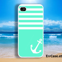 Mint Stripes Case , Mint Case , Anchor Case , Stripes Case : Iphone 4/4s case Iphone 5 case and Samsung Galaxy S3