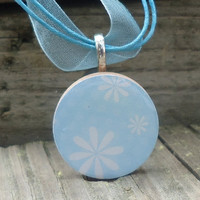 Baby Blue Round Wood Tile with White Flowers