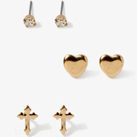 Antiqued Cross & Heart Stud Set | FOREVER 21 - 1043187023