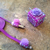 Purple mirrored Swarovski &amp; flower iPhone 5 charger
