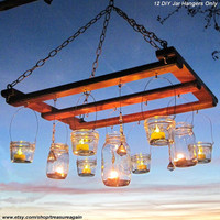 DIY Lanterns 12 WIDE Mouth Hangers Ball Mason Jar by treasureagain