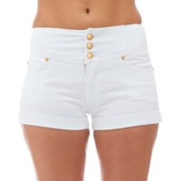 Curve Appeal Juniors High Waisted 5 Pocket Stretch Cotton Short Shorts: Clothing