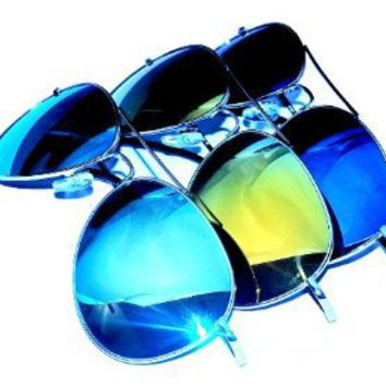 Amazon.com: Aviator Sunglasses UV400 with Colored Mirror lens (3-Pack): Clothing