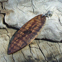 Laser Engraved Surfboard Shaped Wood Pendant - Handmade with Hawaiian Koa