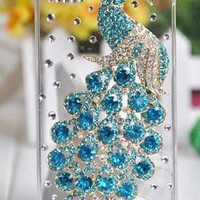 2013 New Hotsale the Peacock Diamond Shell Apple Iphone5 5s Shell Phone 4 Phone Shell Paste Drilling Case Tiffany Blue Sky Blue Colore Peacock Retail and Wholesale: Beauty