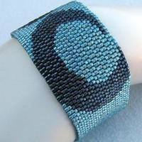 Wide Gunmetal on Turquoise Peyote Cuff 2191 by SandFibers on Etsy