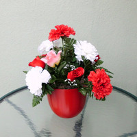 Silk Floral Arrangement, Valentine's Day Roses, Assorted Roses/Carnations, Clay Pot (V8)