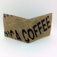 Mens Vegan Wallet, Womens Vegan Wallet,Upcycled Burlap Wallet, Minimalist Wallet, Burlap Wallet, Made From Coffee Bean Sacks-Ready to ship