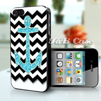 Aqua Glitter Anchor Black Chevron -  iPhone 4 Case, iPhone 5 Case. FREE SHIPPING - Worldwide.