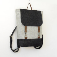 Unisex, Melange gray and denim wool  Backpack / laptop bag / school  bag / leather closure and front pockets, Unique Design of BagyBag