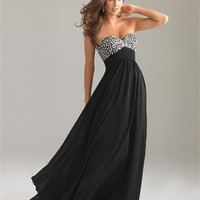 Strapless A-line Sweetheart Sequin Empire Chiffon Black Prom Dress PD0880