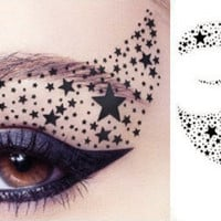 1 Pair of Temporary Tattoo Transfer for Eyes Eyelids Black Color Stars Pattern for Party Clubbing