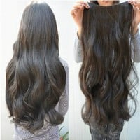 Gorgeous Long Curly Clip-on Hair Extension Wigs - Black: Beauty